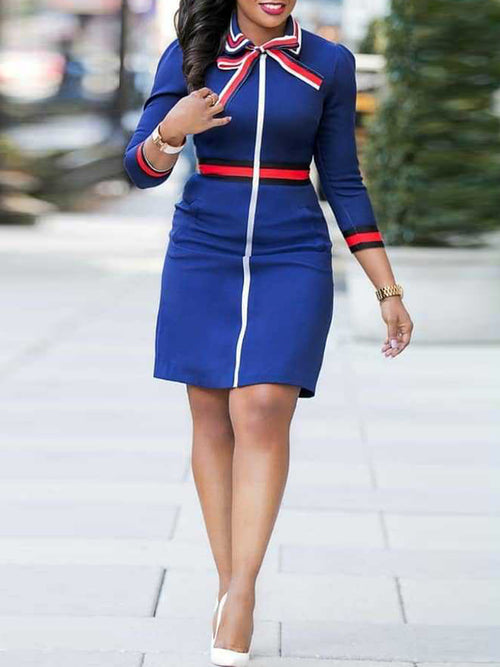 Patchwork OL Bodycon Dress With Bowknot