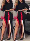 High Waist Short Sleeve Side Slit Two Piece Sets