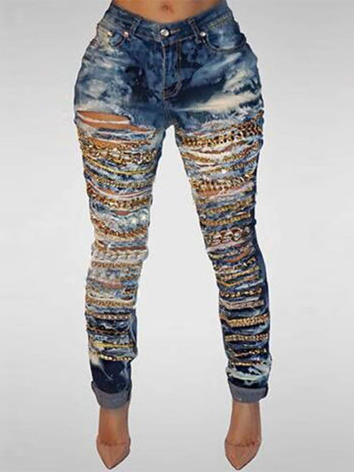 High Waist Sequined Broken Holes Jeans