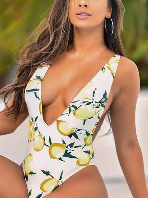 Print V-neck Sleeveless One Piece Swimwear