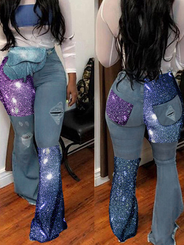 Sequin Patchwork Distressed Flared Jeans