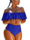 Solid Flounced Two Pieces Swimwear