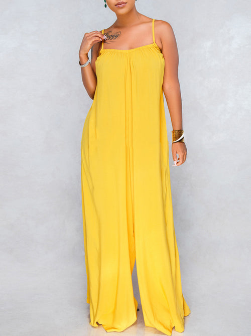 Solid Sleeveless Casual Jumpsuit