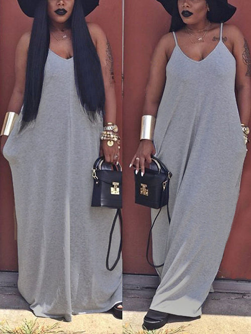 Solid Casual Slip Maxi Dress