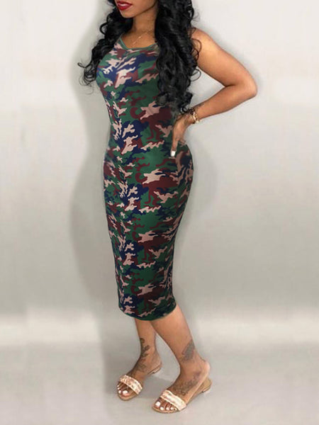 Camouflage Printed Sleeveless Round Neck Midi Dress
