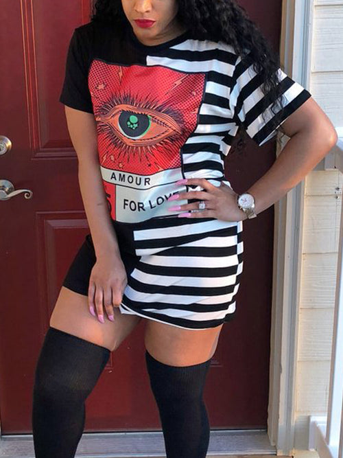 Striped Print Fashion Mini Dress
