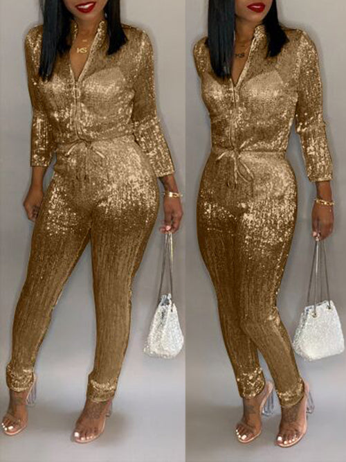 Solid Color Hot Drilling Long Sleeve Jumpsuit