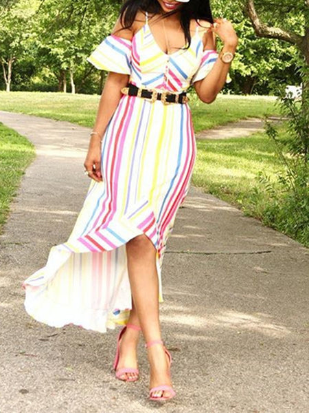 Cold Shoulder Ruffle Mixed Color Asymmetric Dress