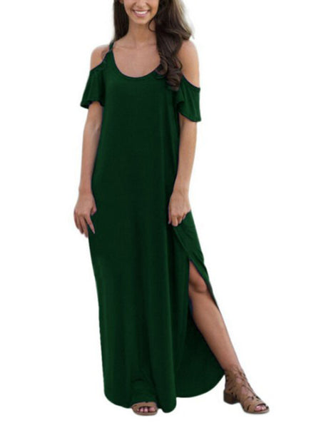 Spaghetti Straps Cold Shoulder Solid Color Side Slit Maxi Dress