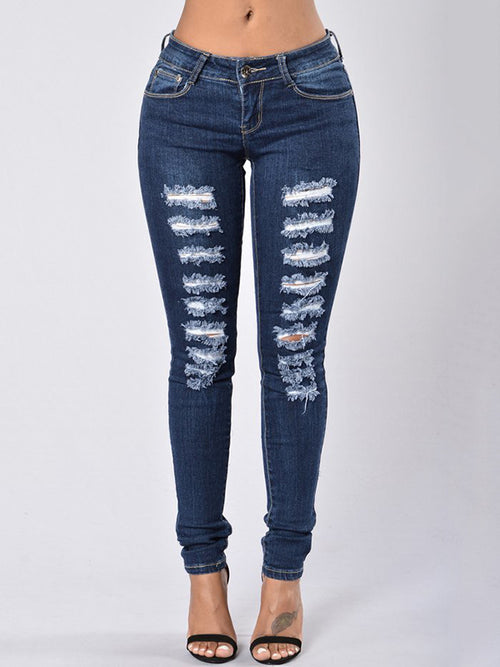 Slash Pocket High Waist Casual Jeans