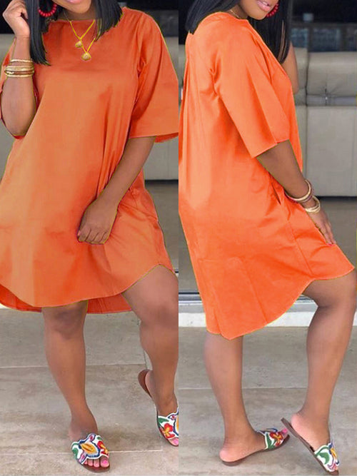 Plus Size Pocket Solid Color Mini Dress