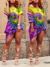 Plus Size Tie Dye Skew Neck Knotted Dress