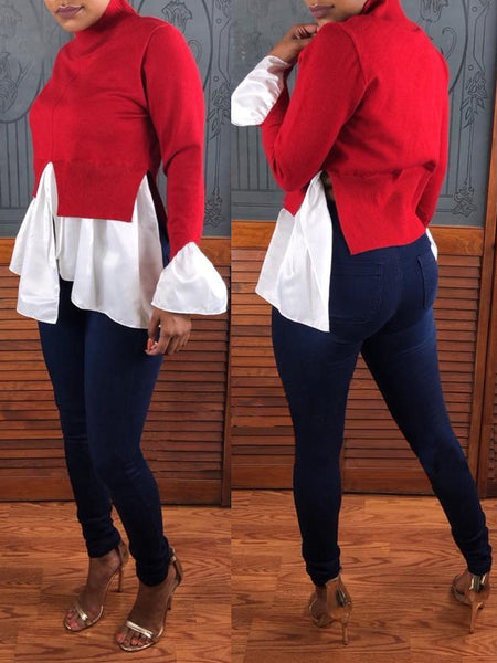 High Neck Flare Sleeve Patchwork Top