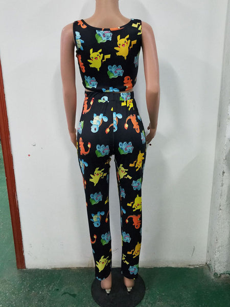 Fashion Cartoon Print Suit