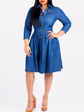 Denim Turndown Collar Casual Midi Dress
