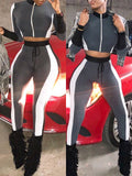 Fashion Color Block Zipper Two-Piece Outfits