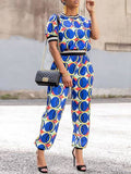 Fashion Print Casual Short Sleeves Two-Piece Outfits