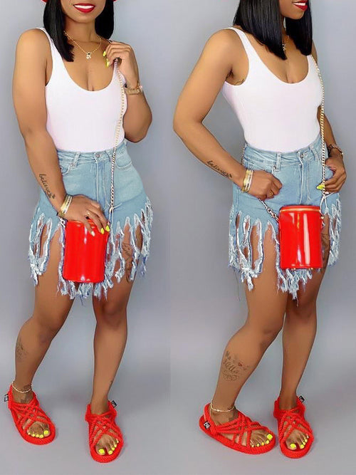 Plus Size Denim Pocket Casual Tassel Hem Shorts