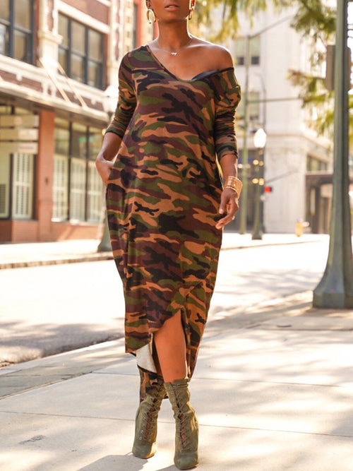 Camouflage Printed V-neck Asymmetric Hem Maxi Dress