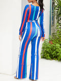 Fashion Deep V-neck Striped Jumpsuit