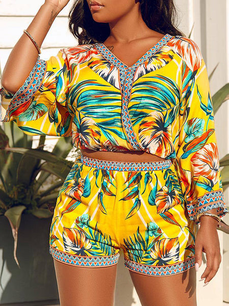 Digital Print Side Bandage Zipper Up Sexy Two Piece Sets