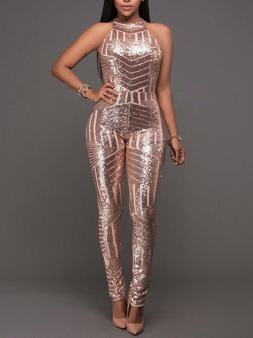 Halter Sequins Solid Color Sexy Party Jumpsuit