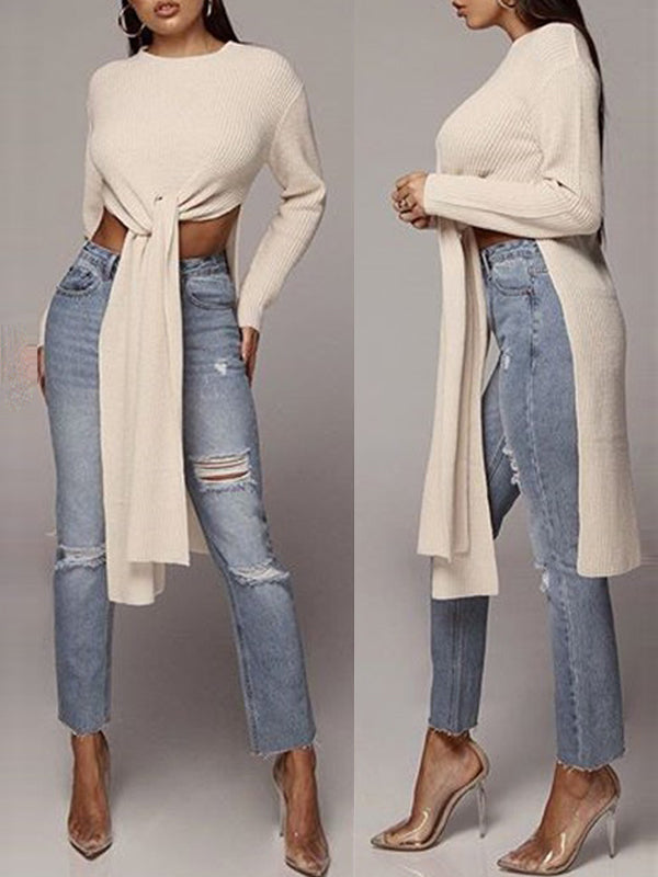 Solid Long Sleeve Bandage Fashion Top