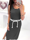 Stripe Print Sleeveless Casual Maxi Dress