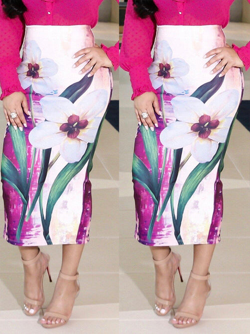 Digital Print Slit Hem Bodycon Midi Skirt