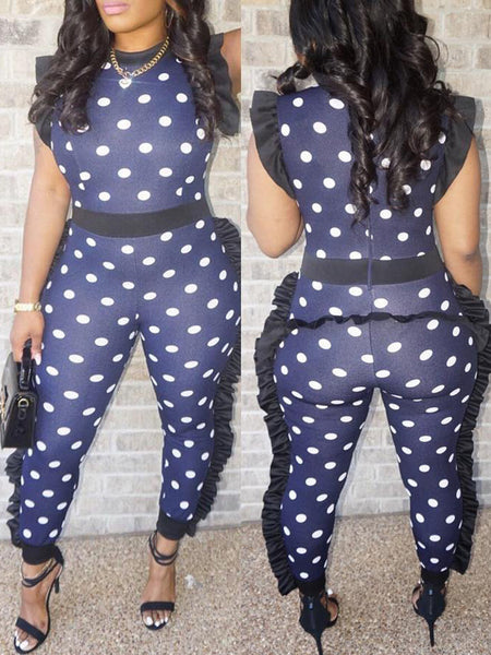 Fashion Ruffle Polka Dot Casual Jumpsuit