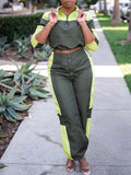 Casual Color Block Long Sleeve Two Piece Outfits