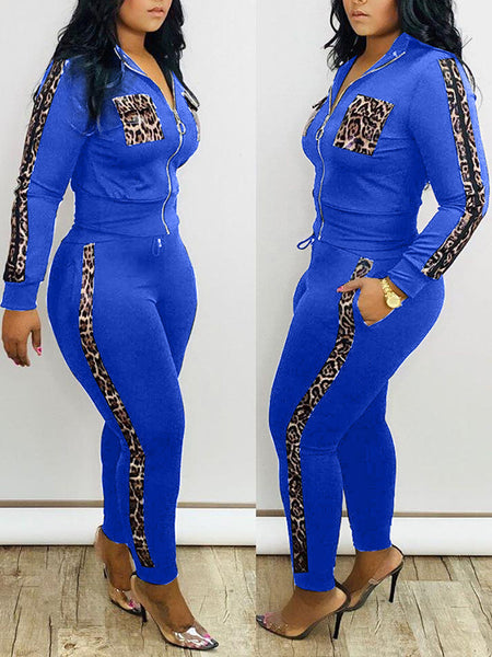 Zipper Up Leopard Patchwork Two Piece Outfits
