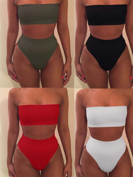 Solid Strapless Two Pieces Swimwear