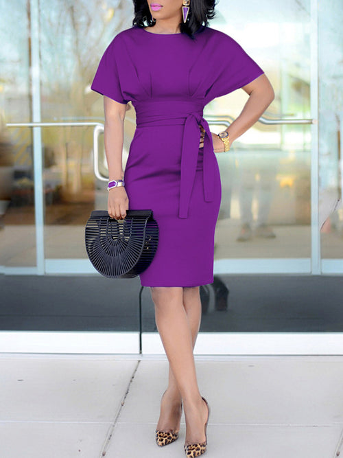 Plus Size Solid Color Belted Short Sleeve Midi Dress