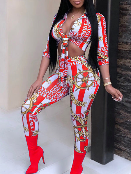 Fashion Casual Print Two Pieces Suit