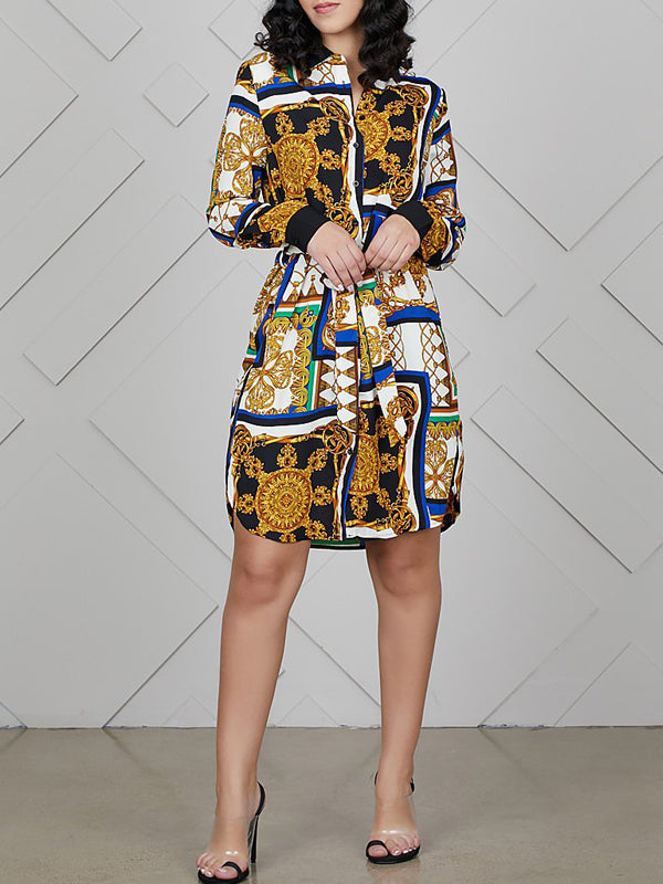Casual Turndown Collar Print Shirt Midi Dress