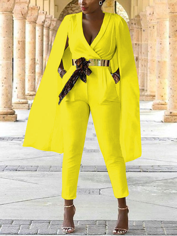 Solid V-neck Jumpsuit Without Belt