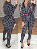 Fashion Plaid Print Long Sleeve Two-Piece Outfits