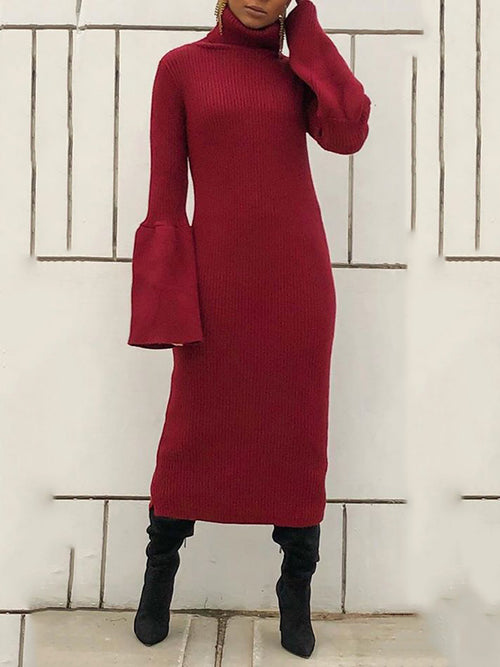 Flared Sleeve Knitted Solid Color Maxi Dress