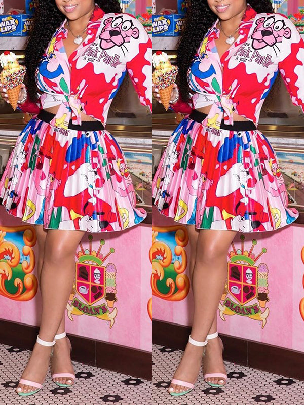 Cartoon Print Knotted Two Piece Dress
