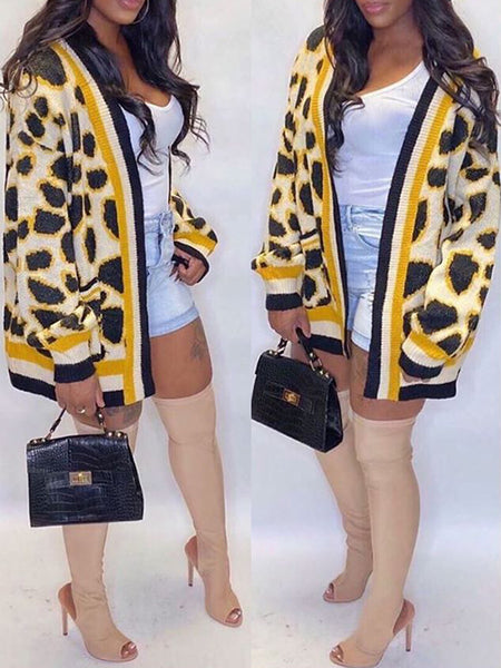 Leopard Print Knitted Pocket Cardigan