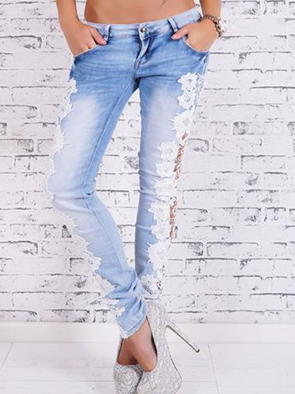 Hollow Out Lace Skinny Long Jeans