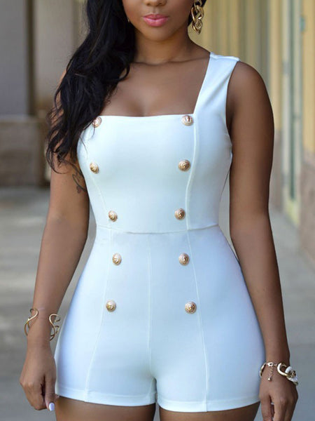 Off One Shoulder Solid Color Jumpsuit With Belt