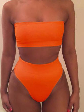 Black Hollow out Two Pieces Swimwear
