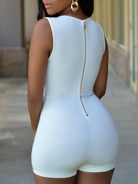 Solid Button Sleeveless Romper