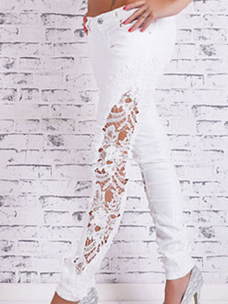 [Special Sale]Hollow Out Lace Skinny Long Jeans