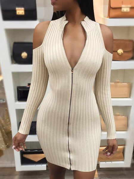[Special Sale]Solid Long Sleeves Cold Shoulder Midi Dress
