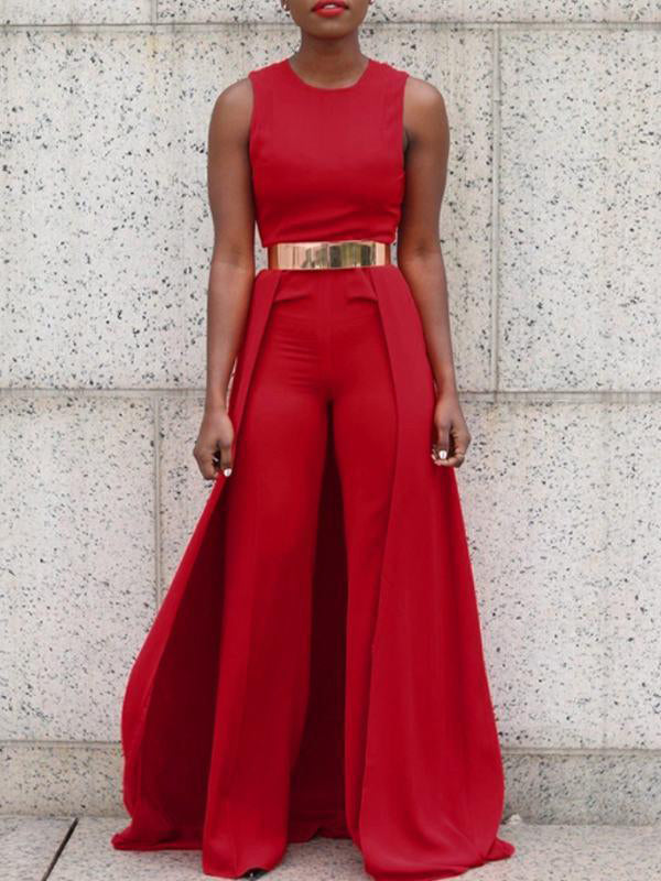 Sexy Loose Red Jumpsuits(Without Belt)