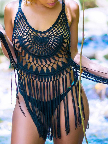 Sleeveless Tassel Design Black Swimwear Cover-Up