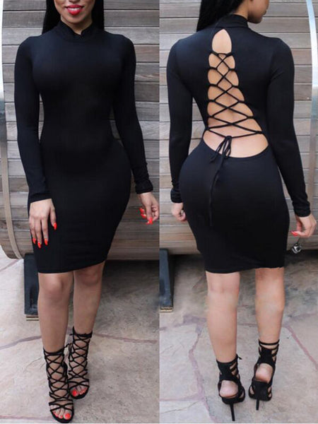 Long Sleeves Backless Skinny Midi Dress